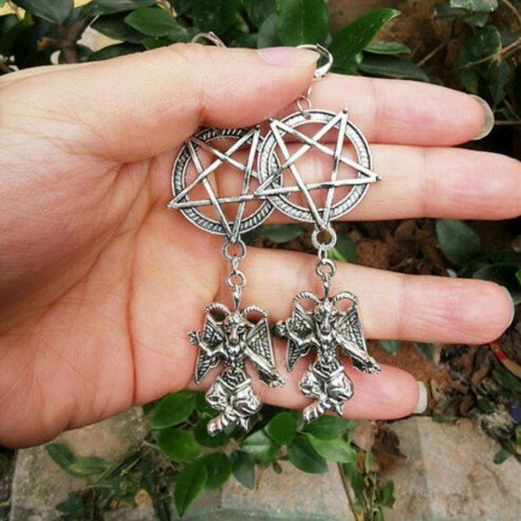 Inverted Pentagram Baphomet earrings